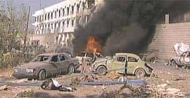 Aftermath of an explosion at the UN headquarters in Baghdad