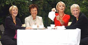 Actors Julie Walters and Helen Mirren with real life 'calendar girls' Tricia Stewart, left, and Angela Baker, right
