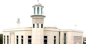 A view of the newly-built Baitul Futuh mosque in Morden, Surrey, which is the largest in western Europe
