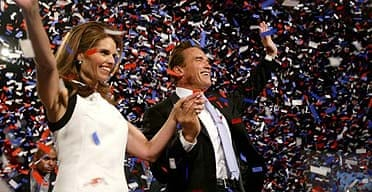 Arnold Schwarzenegger celebrates victory in the California recall election, with Maria Shriver
