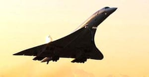 The final Concorde flight from New York to London during take-off