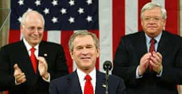 George Bush is applauded by vice president Dick Cheney (left) and House speaker Dennis Hastert as he begins his state of the union address
