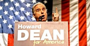 Howard Dean speaks at a campaign stop in Oshkosh, Wisconsin