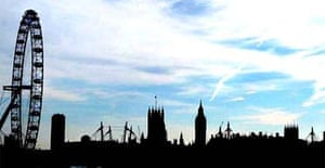 A view of London's skyline from Waterloo bridge