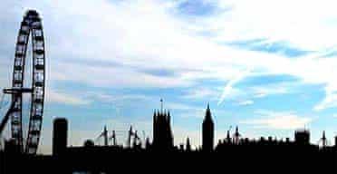 A view of London's skyline from Waterloo bridge