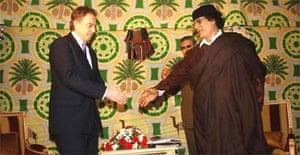 Tony Blair and Colonel Muammar Gadafy in Tripoli
