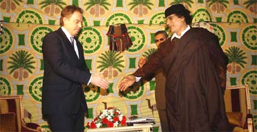 Tony Blair and Colonel Muammar Gadafy in Tripoli