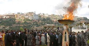 A  flame burns in memory of the genocide victims at Gisozi, Rwanda