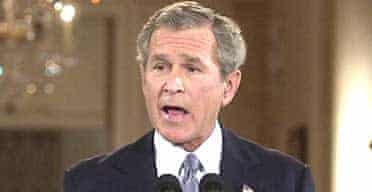 The US president, George Bush, speaks at a televised White House news conference. Photograph: Gerald Herbert/AP