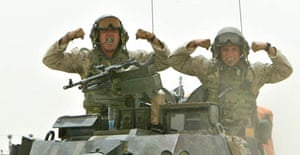 US marines move out of their position near the town of Falluja, Iraq