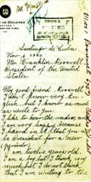 Fidel Castro's letter to President Franklin Roosevelt, dated November 6 1940