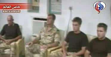 Iranian state-run television shows images of four men identified as detained British sailors