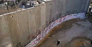 The Israeli security wall in the village of Abu Dis