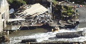 Debris of a collapsed house in Boscastle