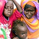 Sudanese family in a refugee camp, Darfur
