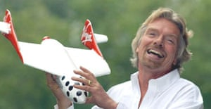 Sir Richard Branson announces that he has signed an agreement to develop the world's first privately funded space travel. Photograph: Fiona Hanson/PA
