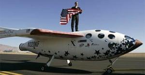 Astronaut Brian Binnie celebrates SpaceShipOne's flight