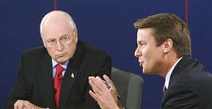 Vice-presidential candidates Dick Cheney and John Edwards during their first debate