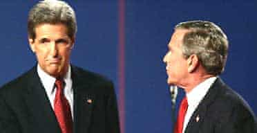 The Democratic presidential candidate, John Kerry, shakes hands with the US president, George Bush, at the start of their third and final debate. Photograph: Kevork Djansezian/AP
