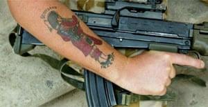 A Black Watch soldier on patrol in Basra, Iraq