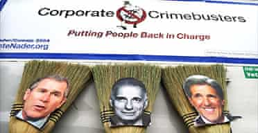 Campaigners for Ralph Nader holding a 'mock election' with brooms in Iowa, USA