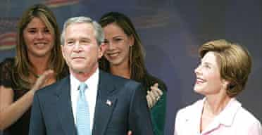 George Bush and family after the victory speech