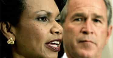 George Bush and Condoleezza Rice at the announcement of her appointment as Secretary of State