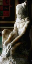 Marble figurine by Iraqi artist Karim Khalil: 'Man In Abu-Ghraib'