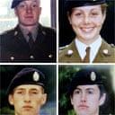 Deepcut victims (top L-R): Private James Collinson, Private Cheryl James, Private Sean Benton, Private Geoff Gray