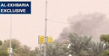A video grab from al-Ekhbaria television shows smoke billowing from the US consulate in Jeddah, Saudi Arabia. Photograph: AFP/Getty Images