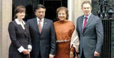 Tony Blair and  Cherie Blair with the Pakistani president General Pervez Musharraf and his wife, Begum Sehba, outside 10 Downing Street. Photograph: Michael Stephens/PA