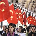 Istanbul's Grand Bazaar is decorated with Turkish flags
