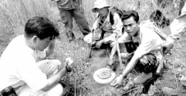 Aki Ra clearing landmines in Cambodia