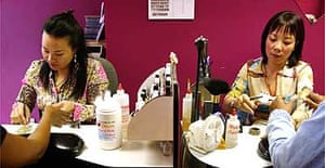 Staff in a Vietnamese nail parlour near Mare Street in Hackney