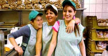 Staff behind the counter in the Yasar Halim bakery in Green Lanes