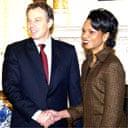 Tony Blair welcomes Condoleezza Rice at Downing Street
