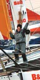 Ellen MacArthur celebrates setting a new record for circumnavigating the world