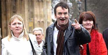 Gerry Conlon, who was jailed for the Guildford pub bombings of 1974, outside parliament with his family