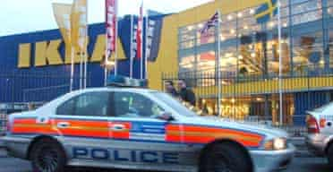 Police outside the new Ikea store in Edmonton, north London, forced to close after overcrowding at its opening
