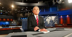 News anchor Dan Rather rehearses on the CBS Evening News set in New York