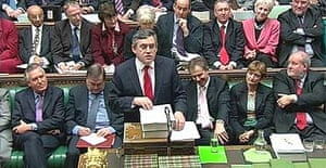 The chancellor, Gordon Brown, delivers his ninth budget speech in the House of Commons
