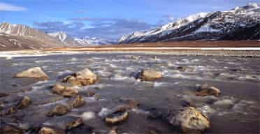 The Jago river and Romanzof mountains in Alaska's wildlife refuge