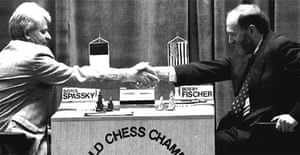 Boris Spassky and Bobby Fischer shake hands before their first match in the World Chess Championships in Sveti Stevan, Yugoslavia, September 2 1992. Photograph: Vukadinovic/AP