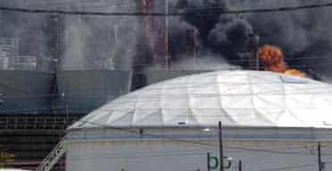 Flames erupt from the BP Amoco oil refinery in Texas City after an explosion on March 23 2005