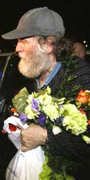 Chess genius Bobby Fischer arrives in Iceland after his release from a detention centre in Japan