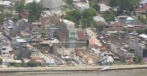 The town centre of Gunungsitoli on Nias island after the earthquake