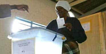 A woman casts her vote in the Harare suburb of Highfield as the country's parliamentary elections get under way. Photograph: Karel Prinsloo/AP