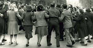 Dancing in the street in Whitehall on VE Day 1945. Photograph: Keystone