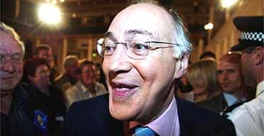 Michael Howard at the count in Folkestone, where he kept his seat.