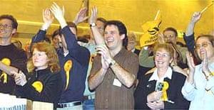 Liberal Democrat supporters celebrate Stephen Williams's win in the three-way marginal Bristol West.